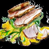 Морская рыба под овощным маринадом